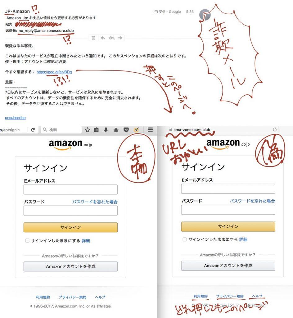 【2017年版】Amazonの偽サイト・偽詐欺メールの見分け方が話題
